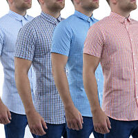 Mens Casual Shirts Stallion Slim Fit Short Sleeve Formal Shirt Top S M L XL New