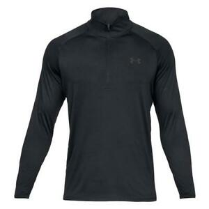 Under Armour Tech 2.0 Mens Training Top Black Half Zip Long Sleeve HeatGear NEW!