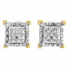Diamond Square Earrings 14K Yellow Gold Over Round Cut Pave Design Studs 1.25 Ct