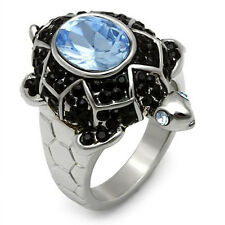Ladies Turtle Light Sapphire Antique Silver Plated Ring Size 7