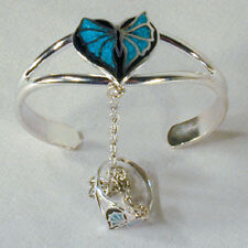 BUTTERFLY HEART SLAVE BRACELET #13 chain RING SET NEW butterflies silver jewelry