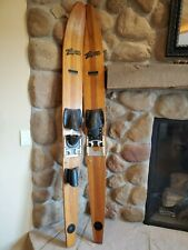 """Vintage Thompson Wooden 70"""" Long Skis with Metal Bindings and Custom Combi"""