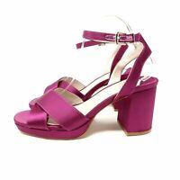 Faith Purple Sandals UK 7 Wide Fit EU 40 Satin Strappy Block Heels Shoes