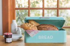 Turquoise Blue Bread Bin Rustic Kitchen Tin Retro Keep Fresh Box Canister Metal