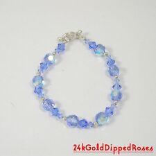 "8"" 925Sterling Silver Swarovski Crystal December Lt Sapphire Birthstone Bracelet"