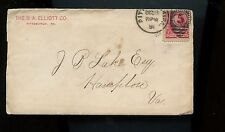 US Advertising Cover (B A Elliott Co) 1891 Pittsburgh, Pa to Hampton, Va