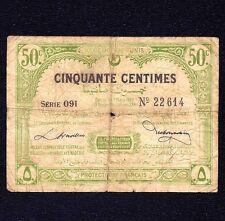 TUNISIA  50 CENTIMES 1920   P-48   Algeria ALGERIE Tunisie   VG