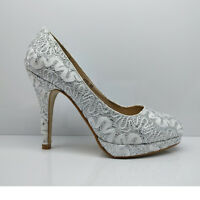 WOMENS LADIES WEDDING PARTY PROM GLITTER HEELS LACE STILETTO COURT SHOES SIZE
