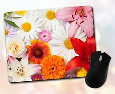 Flower Mouse Pad • Rose Daisy Sunflower Lily Petals Girly Decor Desk Accessory