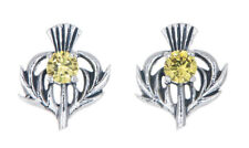 Sterling Silver Thistle Stud Earrings with a November Birthstone Centre
