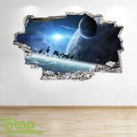 SPACE WALL STICKER 3D LOOK - MOON PLANET GALAXY STARS BOYS BEDROOM  Z329