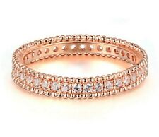 18K ROSE GOLD PLATED AUSTRIAN CRYSTAL ENGAGEMENT RING SIZE: O, Q