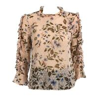 Womens Pink Floral Long Sleeve Ruffle Chiffon Keyhole Blouse Top UK S12-20