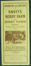 1950's Knott's Berry Farm and Ghost Town Buena Park CA Map & Info brochure b