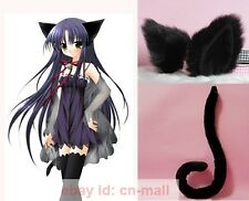 Halloween Lovely Party Anime Cosplay Kitty Cat ears and tail set Black