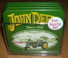 2010-NEW OLD STOCK-JOHN DEERE COASTERS-1 PACKAGE OF 4 WITH A METAL CARRIER NICE