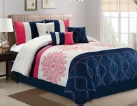 7Pc QUEEN Melon Pink Navy Blue Grey Floral Embroidered Pin Comforter Set