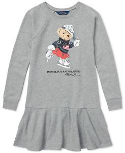 Polo Ralph Lauren Girls GREY L/S Crew Neck Ice Skating Polo Bear Dress 6X