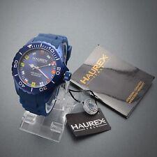 New Haurex Italy Men's 1K374UWF Ink Blue Rubber Band Flag Regatta Aluminum Watch