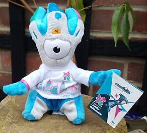 OLYMPICS London 2012 Mandeville 20 cm Skyline Silver Blue Weighted Plush Toy
