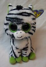 "TY Beanie Boos BIG EYED ZIG-ZAG THE ZEBRA 6"" Plush STUFFED ANIMAL NEW"