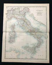 1893 Antique Atlas Map, ITALY, Handy Royal Atlas