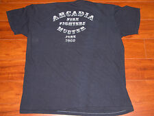 Vtg 80s ARCADIA FIRE DEPT Fire Fighters Muster Thin NAVY T Shirt XL Fireman
