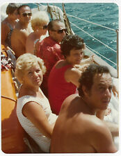 Square Vintage 70s PHOTO People Hanging Out On Boat w/ Ocean Seascape