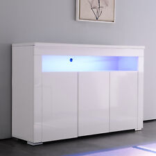 Modern Cabinet White Gloss Sideboard Cupboard Buffet Unit With LED,3 Doors