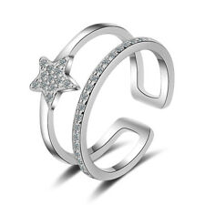 Women Jewelry Solid 925 Sterling Silver Zircon STAR Band Ring Size 8 Xmas Gifts