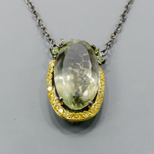 """45ct+ Vintage Green Amethyst Necklace 925 Sterling Silver  Length 19""""/N06468"""