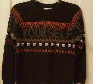 Zara Kids Collection Boy's Size 11-12 Black Knit Sweater - Be Yourself, Skulls