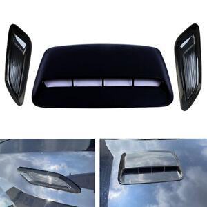 3Pcs Gloss Black Car Hood Scoop Center Side Air Flow Vent Intake Cover Universal