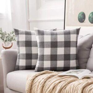 MIULEE Pack of 2 Retro Checkers Plaids Cotton Linen Soft Soild Decorative Square