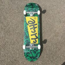 """CLICHE SKATEBOARDS COMPLETE FULL SET UP PAPER BLACK GREEN 8.375"""" INCH FREE TOOL"""