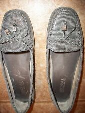 MICHAEL  KORS   GRAY  SNAKE  LEATHER  MOCCASIN  LOAFERS   SIZE   7 M