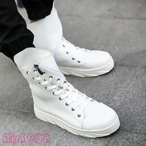 Mens Korean Fashion High Top Sneakers Boots PU Zipper Lace Up Casual High Boots