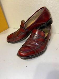 Vintage Florsheim Imperial Burgundy Leather Penny Loafer Shoe Mens 91/2D Slip On