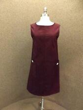 Burgundy Wine Corduroy Jumper Dress Womens S Deadstock Vtg 1960s New Schoolgirl