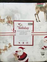 Pottery Barn Kids Santa Full Sheet Set Christmas Heritage Organic COTTON Merry