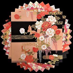 Foil Sakura Kimono Flower YUZEN JAPANESE ORIGAMI PAPER Chiyogami 5 design 15cm