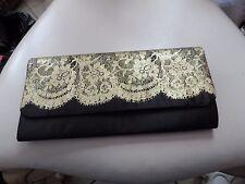 Ladies black with sparkle gold lace clutch evening bag