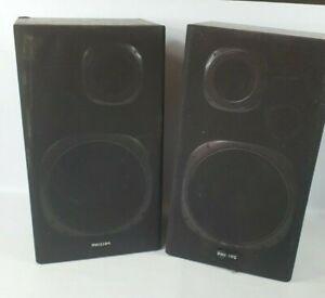 "Philips Bookshelf speakers AK 141 2 Way Tuned Bass  8ohms Black Ash Wood 15"""