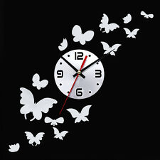 New 14pcs Butterfly Fashion DIY 3D Mirror Wall Sticker Clock Home Decoration