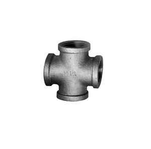 """Black Iron Pipe Four Way Cross 1/2"""" FIP FPT NPT Female Fitting"""