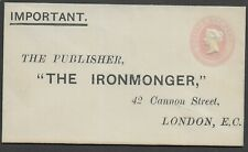 "GB QV STO ES11 1d Pink Reply Postal Stationery ""The Ironmonger"" Unused Mint"