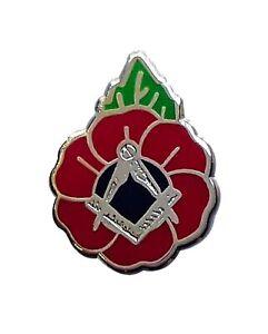 Gift Box with Set of Two Masonic Enamel Pin Badges SB103, Poppy
