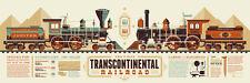 "Tom Whalen print ""Transcontinental Railroad"" Info-Rama #/90 Train Art RARE"