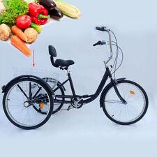 """Dreirad für Erwachsene 24"""" Erwachsenendreirad Senioren 6 Gänge Fahrrad mit Korb"""