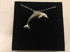 """Dolphin PP-A04 Emblem Silver Platinum Plated Necklace 18"""""""